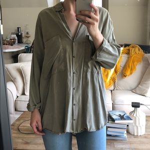 Oversized Green Button Up